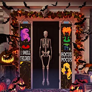 26 Pieces Halloween Decorations, 2 Pieces Outdoor Hocus Pocus Banners Porch Sign Halloween Hanging Banner 24 Pieces Bat Stickers Decorative Halloween Bat Stickers for Home Wall Door Decor (Black)