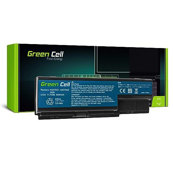 Green Cell® Standard Serie Batería para Acer Aspire 5220 5230 5300 5310 5315 5320 5520 5530 5710 5720 5720Z 5730ZG 5739 5739G 5920 5920G 5930 Ordenador (6 Celdas 4400mAh 10.8V Negro)