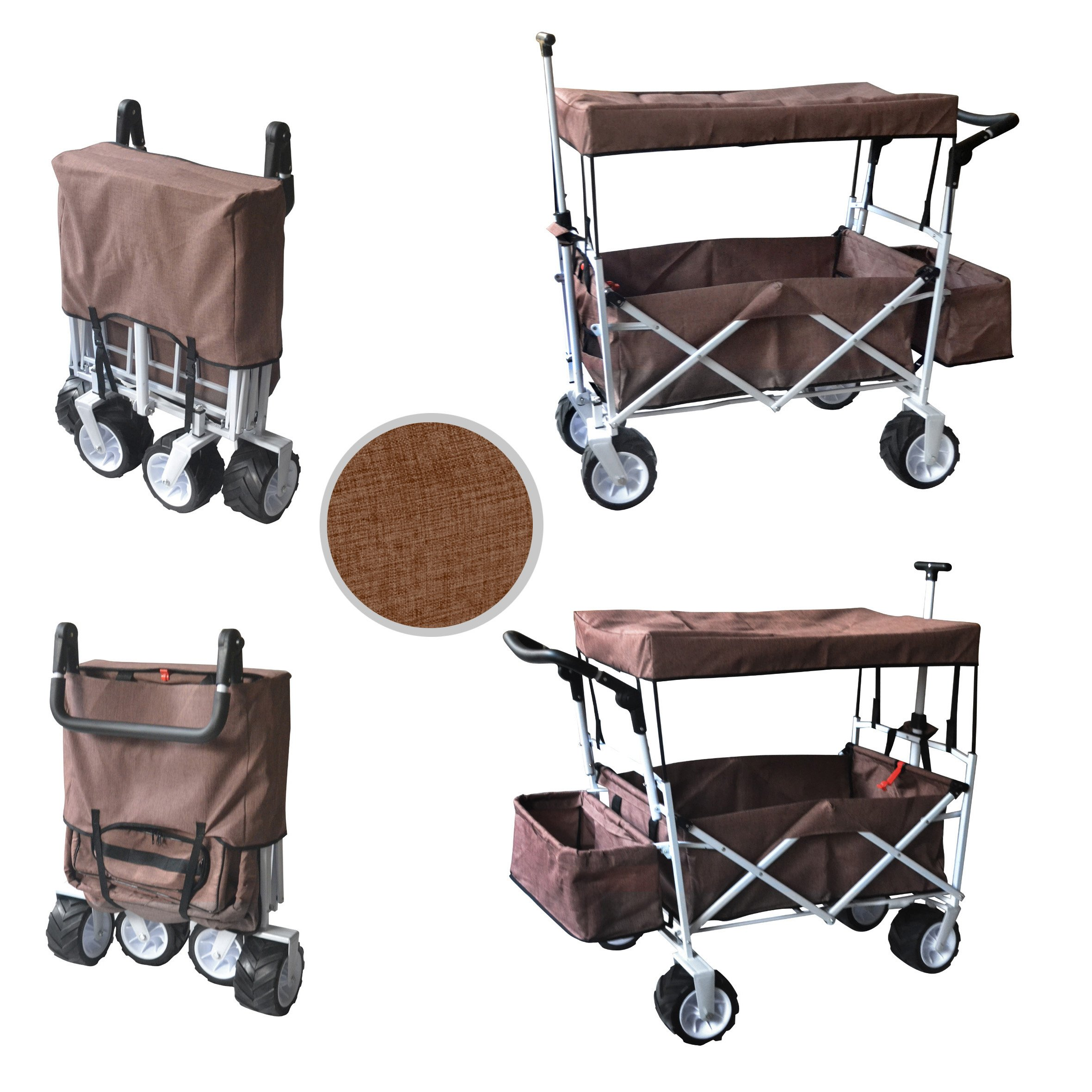 BROWN FREE ICE COOLER PUSH AND PULL HANDLE FOLDING BABY STROLLER WAGON OUTDOOR SPORT COLLAPSIBLE KIDS TROLLEY W/ CANOPY GARDEN UTILITY SHOPPING TRAVEL BEACH CART - EASY SETUP NO TOOL NECESSARY