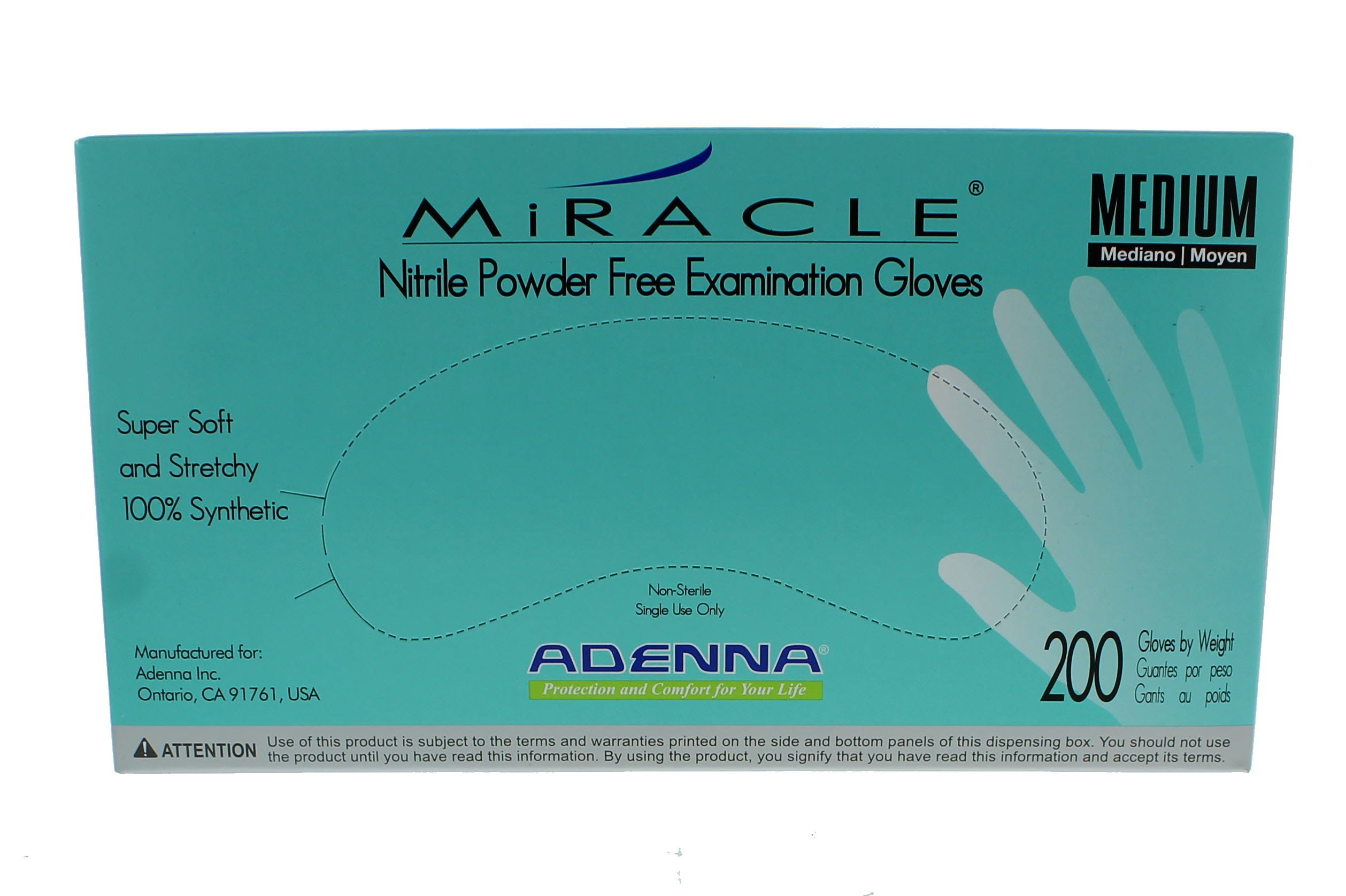 Adenna MIR165 Miracle Nitrile PF Exam Gloves, Medium, 200 Count (Pack of 10)