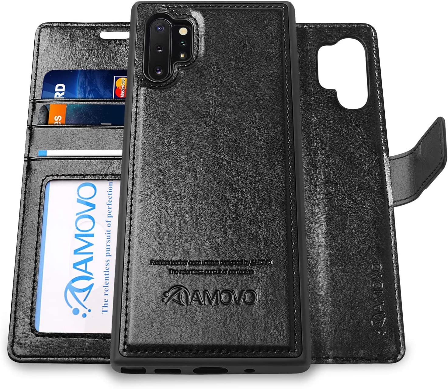 Magnetic Detachable XRPow Folio Flip Case Slim Back Cover with Credit Card Slots Holder for Samsung Galaxy Note 10 Case for Galaxy Note 10 2 in 1 Brown Samsung Note 10 Wallet Case