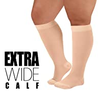 9383a13689 4XL Mojo Compression Socks with Extra Wide Calf, Opaque Plus Size Medical  Support Hose -