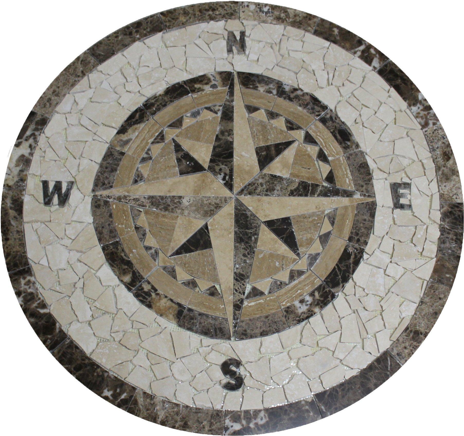 Tile Floor Medallion Marble Mosaic Compass Star Design 36''