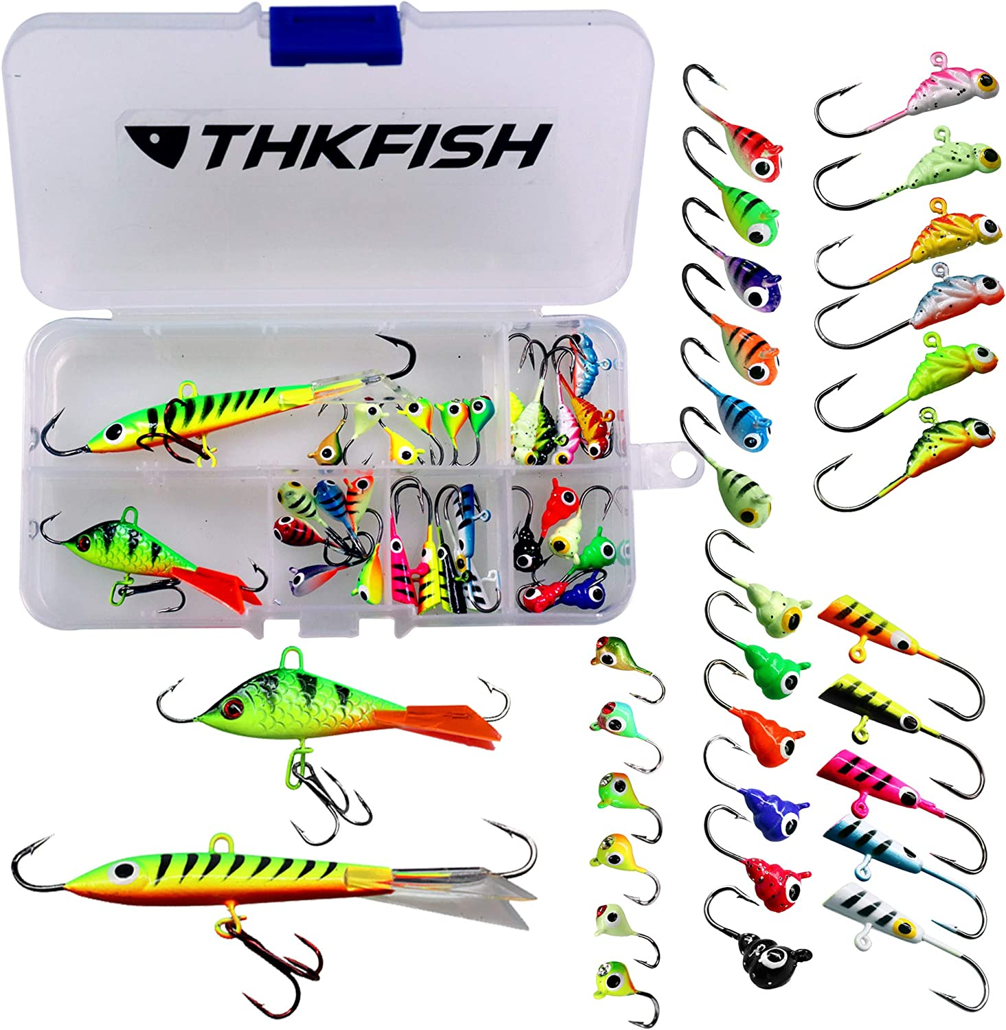 thkfish 31Pcs/50Pcs/box Ice Fishing Jigs Head Lure Baits Fishing Hooks Kit for Winter Fishing Jigging Walleye