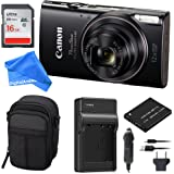 Canon PowerShot ELPH 360 Digital Camera w/ Wi-Fi & NFC Enabled (Black) ESSENTIAL BUNDLE - Digital Camera Case + 16GB SD Card + Extra Battery & Battery Charger Kit + DigitalAndMore Micro Fiber Cloth