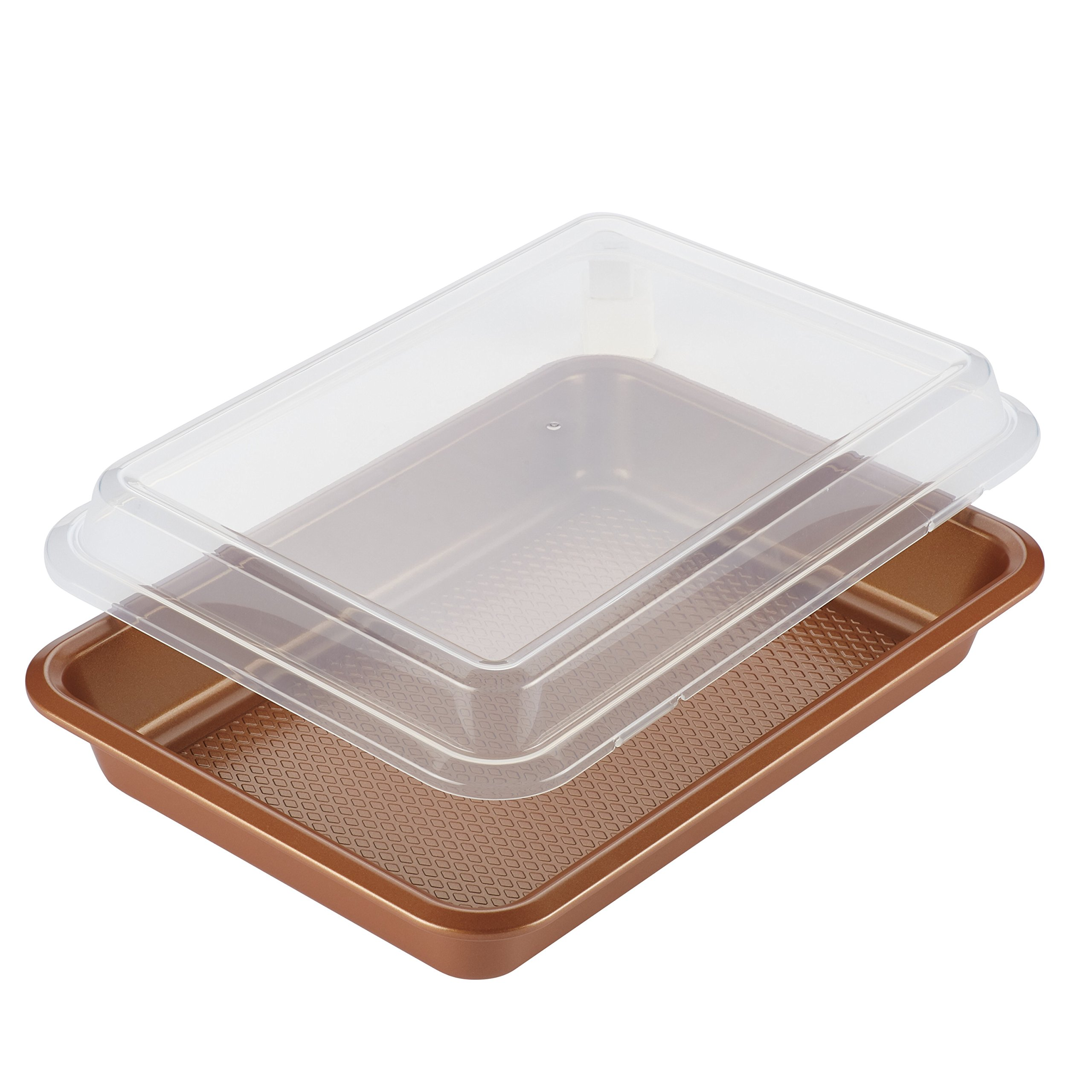 Ayesha Curry 47004 Bakeware Covered Rectangle Cake Pan, 9'' x 13'', Copper by Ayesha Curry Kitchenware