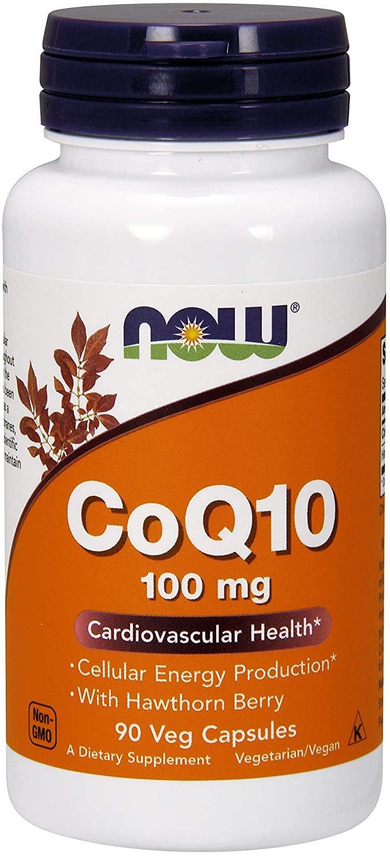 NOW® CoQ10 w/Hawthorn Berry, 100 mg, 90 Veg Capsules