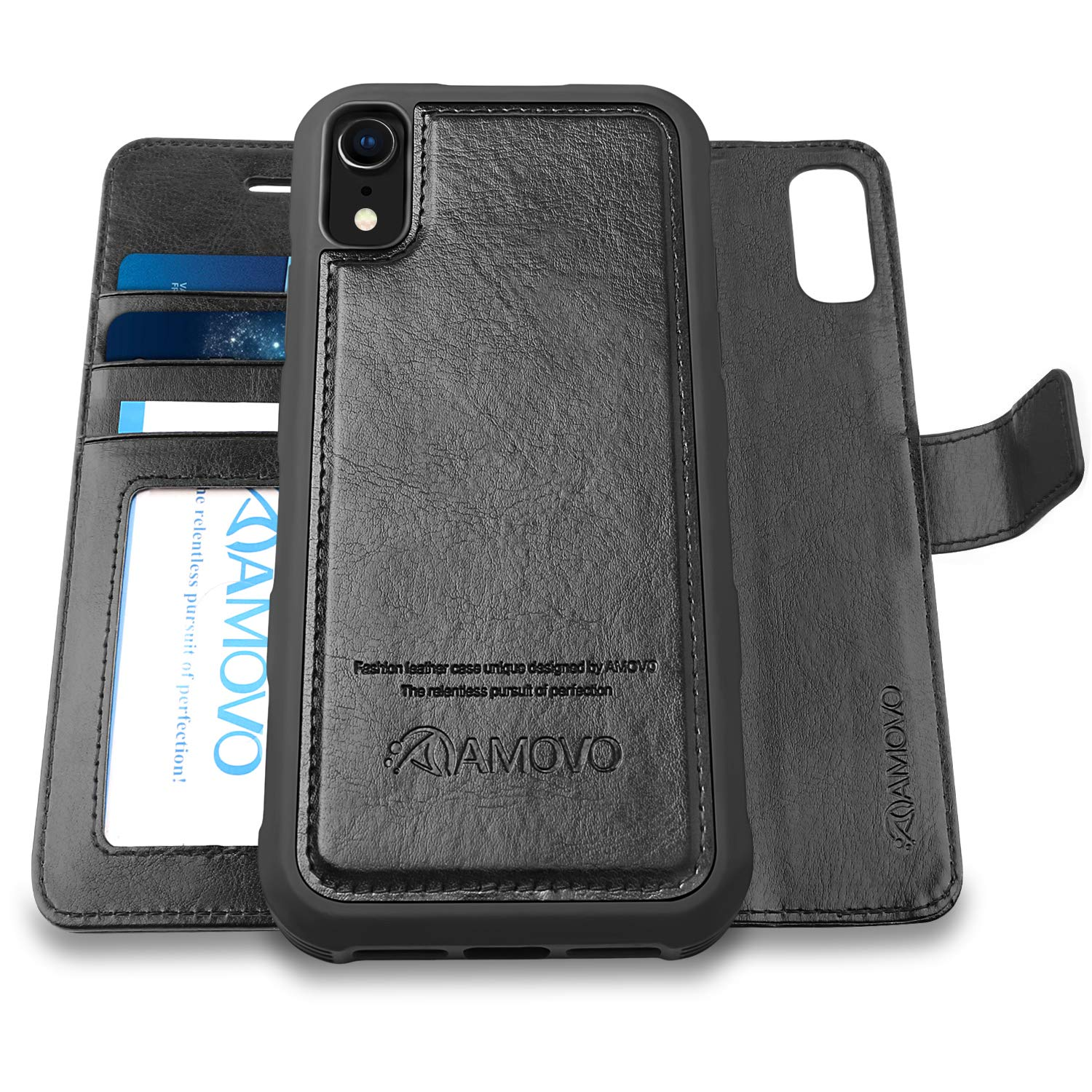 [Upgraded Version] AMOVO Case for iPhone XR [2 in 1] [Wireless Charger] iPhone XR Wallet Case Detachable [Vegan Leather] iPhone XR (6.1'') Flip Case with Gift Box Package (iPhone XR, Black) by Amovo