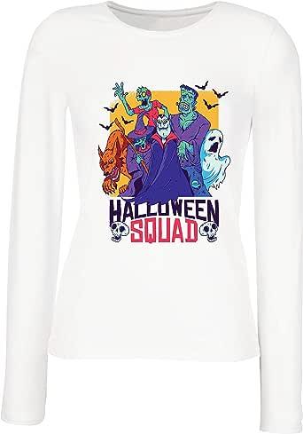 lepni.me Camisetas de Manga Larga para Mujer Escuadrón de Halloween - Vampiro, Fantasma, Hombre Lobo, Bruja, Zombie: Amazon.es: Ropa y accesorios