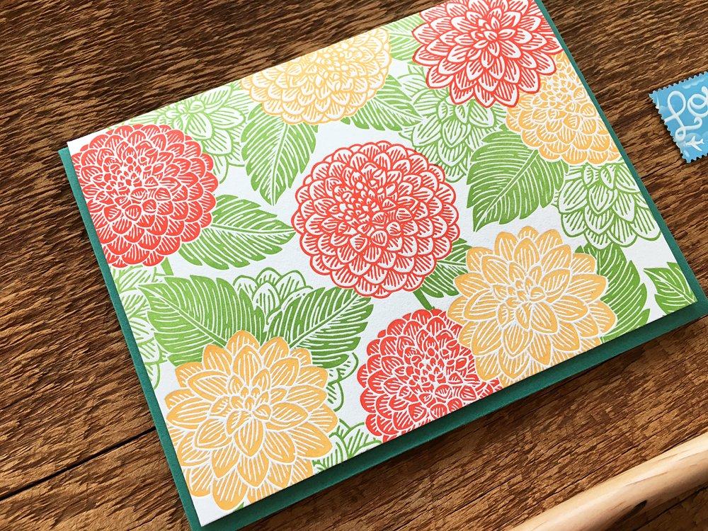 Dahlia Flower Pattern Card Blank Inside Letterpress Note Card