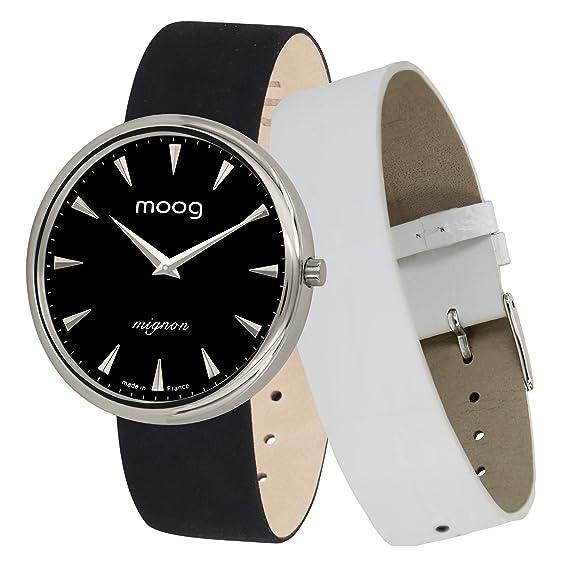 Moog Paris Mignon Reloj para Mujer con Esfera Negra, Correa Negra de Jeans - M41682-C21: Amazon.es: Relojes