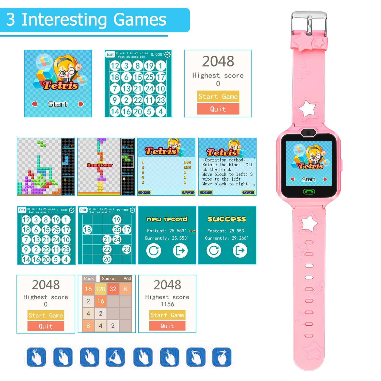 Kids Smart Watch Phone,Unlocked Waterproof Smart Phone Watch for Girls Boys with Camera Games Touchscreen,Children SOS Cell Phone Watch with SIM and SD Slot,Perfect Holiday Birthday Gifts(Pink) by MIMLI (Image #4)