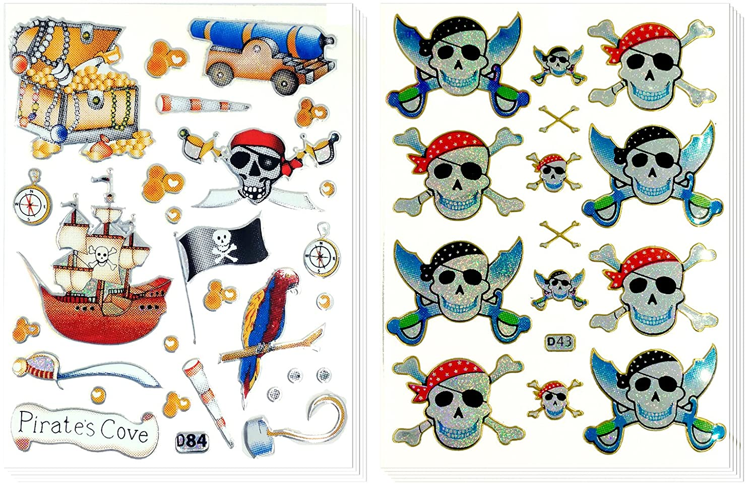 10 Sheets Decorative Sticker Scrapbook Stickers Stickers for Kids Reflective Stickers Pirate and Skull Head Size 4 X 5.25 Inch.//sheet Sticker108