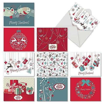 amazon com m6663xsg red and blue retro christmas 10 assortedm6663xsg red and blue retro christmas 10 assorted christmas note cards assorted christmas notecards