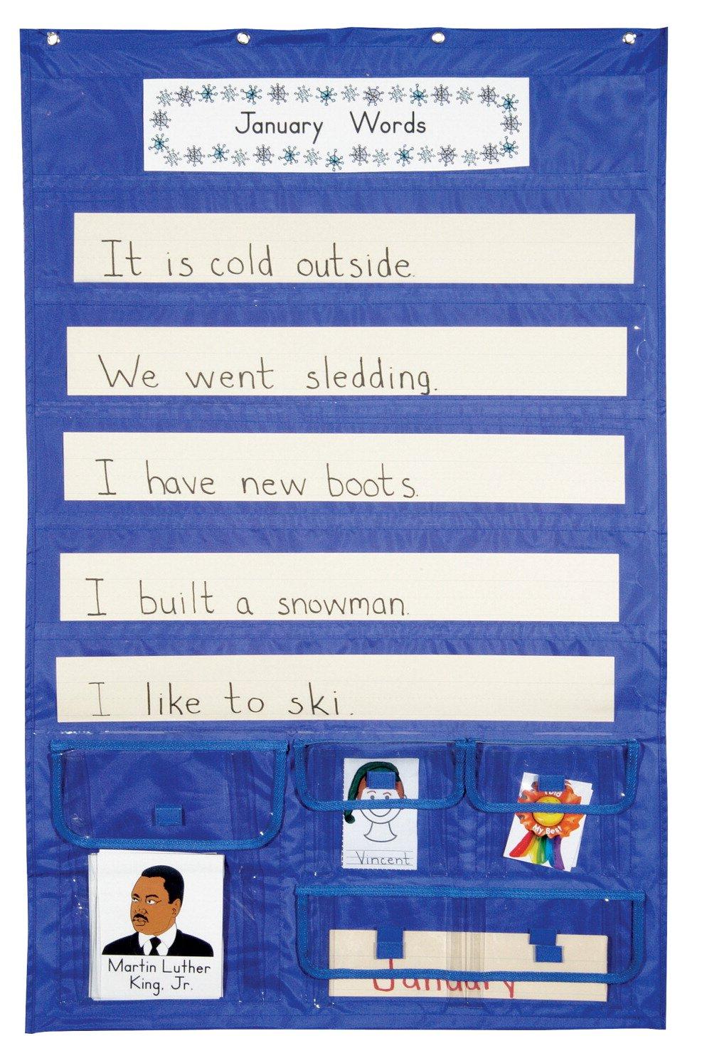 School Smart 387522 Sentence Strip Pocket Chart with Card Storage, 28'' x 44.5''