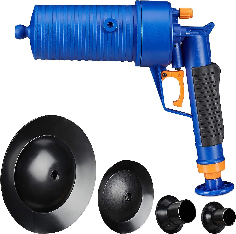 Relaxdays Limpiador de tuberías de Aire comprimido tapados, baño y Cocina, 4 Accesorios, válvula de sobrepresión, Bomba de desagüe, Color Azul, 1 Unidad