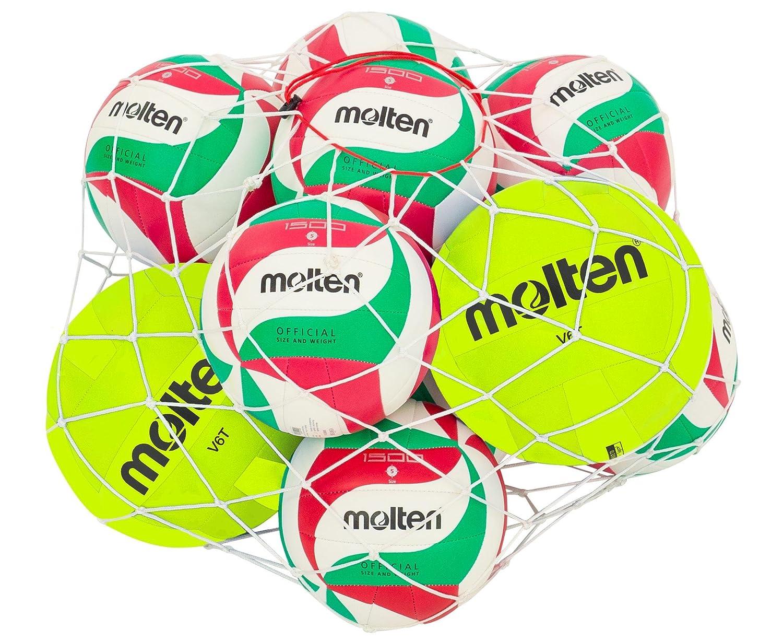 Volleyball Set Molten V5M1500, Set mit 10 Schul- und 2 Trainingsbällen, inkl. praktischem Aufbewahrungsnetz
