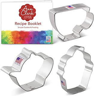 product image for Ann Clark Cookie Cutters 3-Piece Tea Party Cookie Cutter Set with Recipe Booklet, Teapot, Teacup, Cupcake