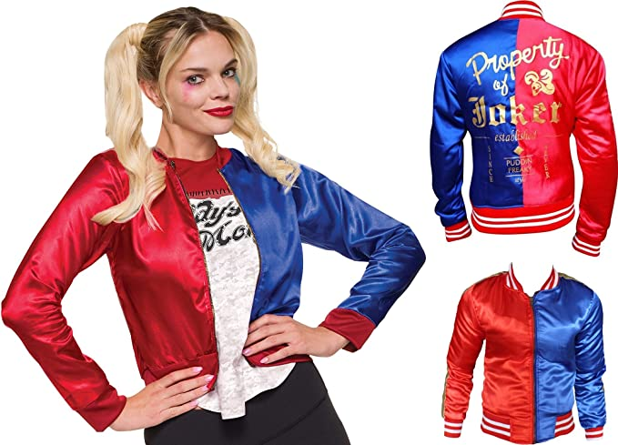 Womens Quin Puddin Satin Varsity Famous Red and Blue Jacket LovezLeather