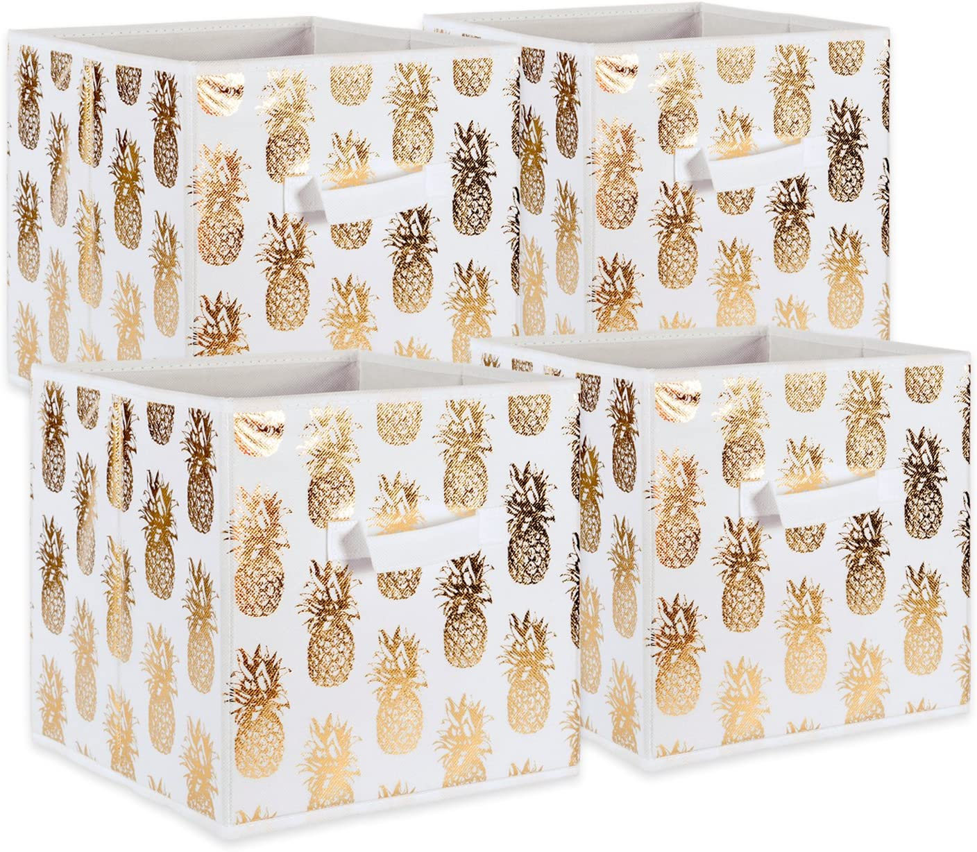 DII Foldable Fabric Storage Containers (11x11x11) Pineapple Set of 4, Small (4), White/Gold 4 Set