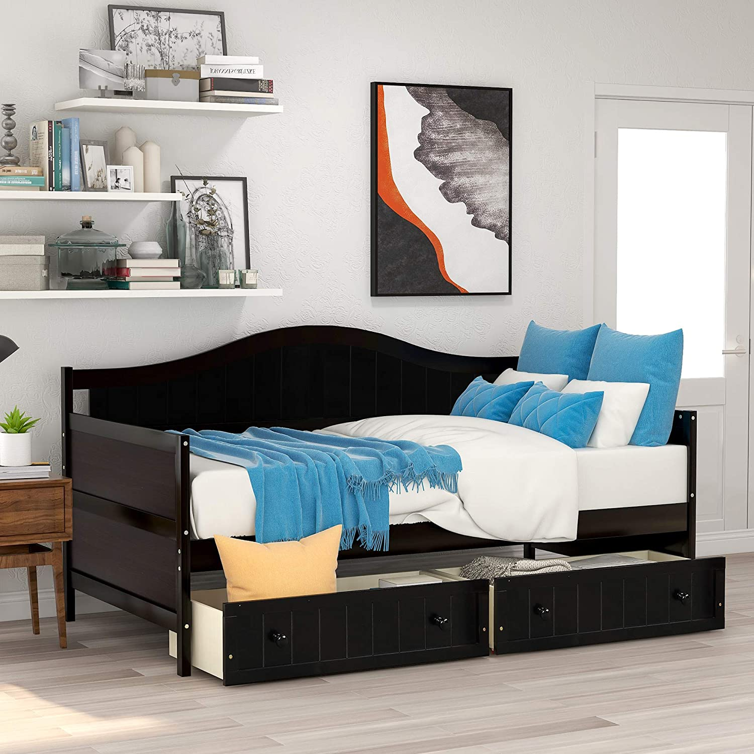 Twin Daybed with 2 Drawers, Wooden Sofa Bed for Bedroom Living Room, No Box Spring Needed (Twin Daybed with Drawers, Espresso)