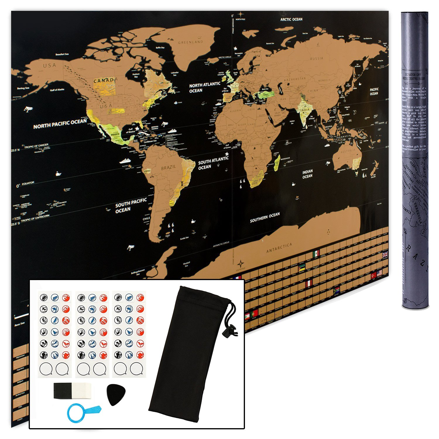 Amazoncom Scratch Off World Map Wall Poster To Mark And Track Your