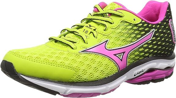 Mizuno Wave Rider 18 (W) - Zapatillas running para mujer, Mehrfarbig (lime Punch/electric), 43 EU (9 UK): Amazon.es: Zapatos y complementos