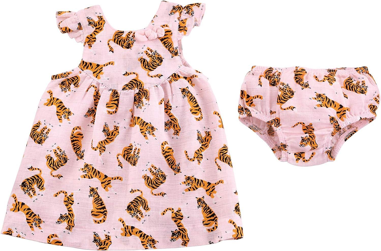 Mud Pie Baby Girls' Tiger Muslin Dress: Clothing