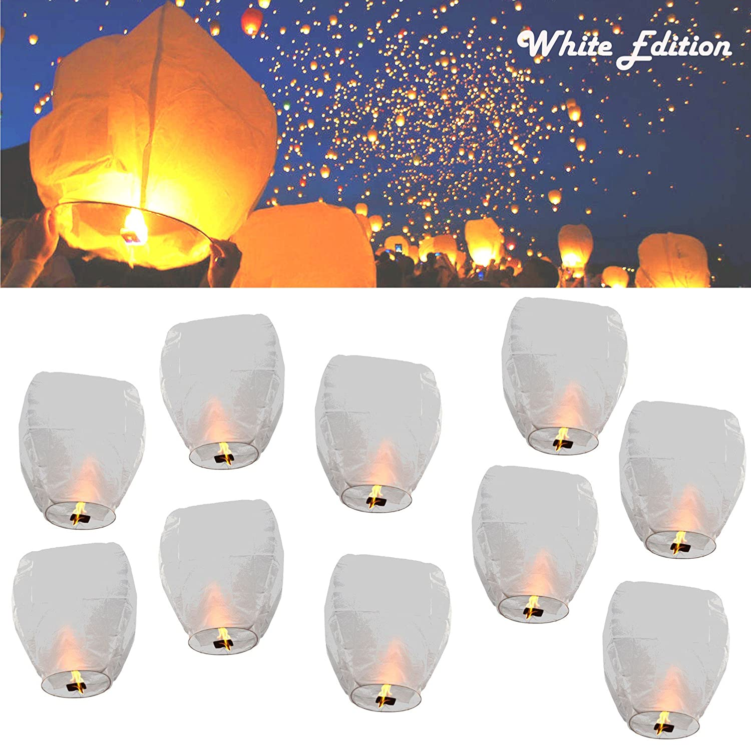 MEDIA WAVE store Lanterna Volante Bianco Total White Wedding Lanterns mongolfiere Volanti 33 cm (Set 5)