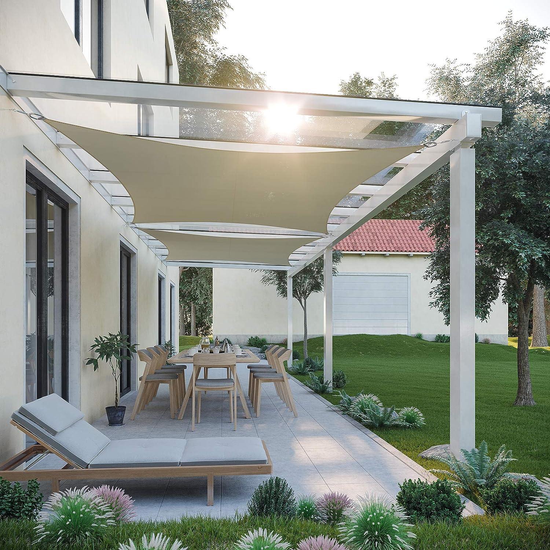 SONGMICS 3 x 3 m Vela Solar, Resistente al Agua Más que 1000 mm ...