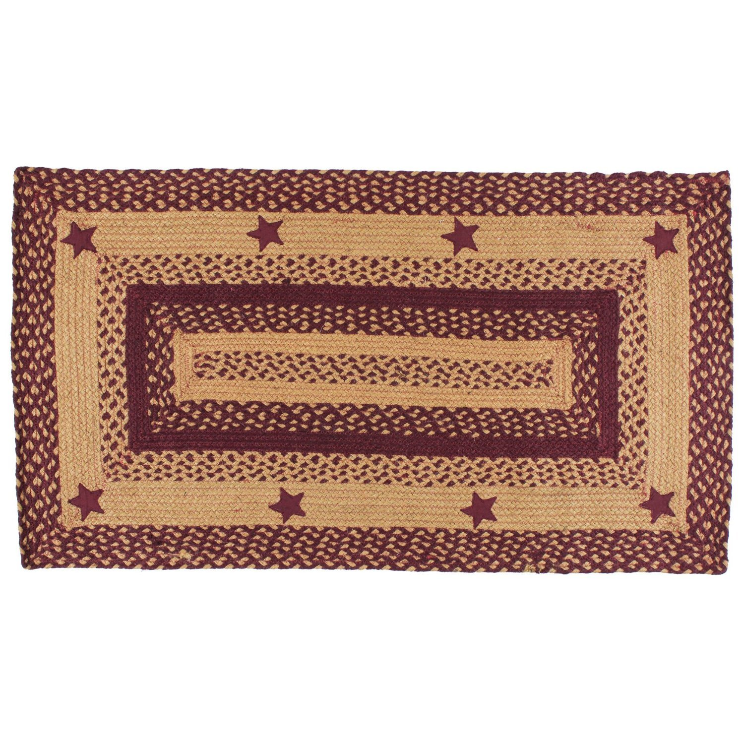IHF Home Decor Star Wine Rectangle Jute Braided Area Rug Floor Carpet 22 x 72 Inch India Home Fashions BR-195 2272R