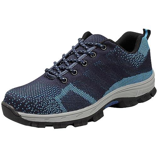 Zapatos de Seguridad Hombre Mujer Zapatillas de Trabajo Ligeras Transpirables con Puntera de Acero Calzado de