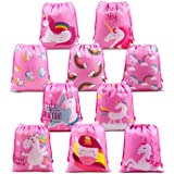Unicorn Party Favors Bags Supplies for Boys and Girls, 10 Pack Cute Goodie Bags for Kids Birthday