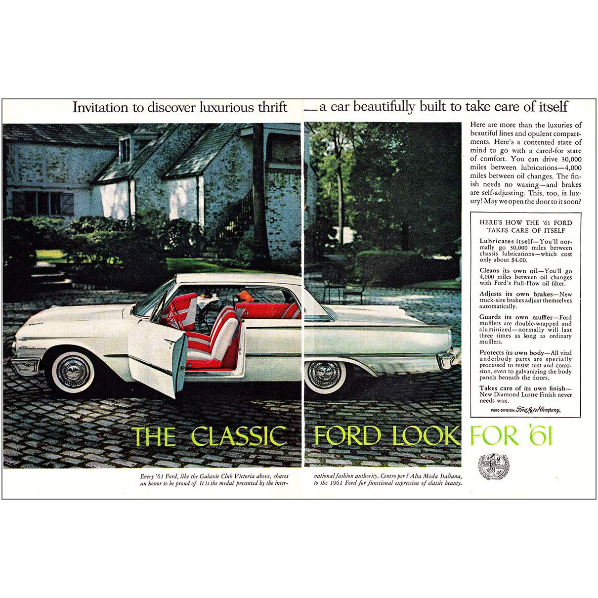 Amazon RelicPaper 1961 Ford Galaxie Invitation To Discover Luxurious Thrift Print Ad Posters Prints