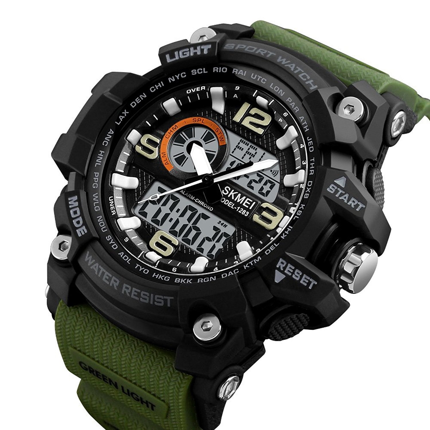 Skmei Analogue-Digital Black Dial Military Green Strap Men's & Boy's Watch - Skm-1283-Green