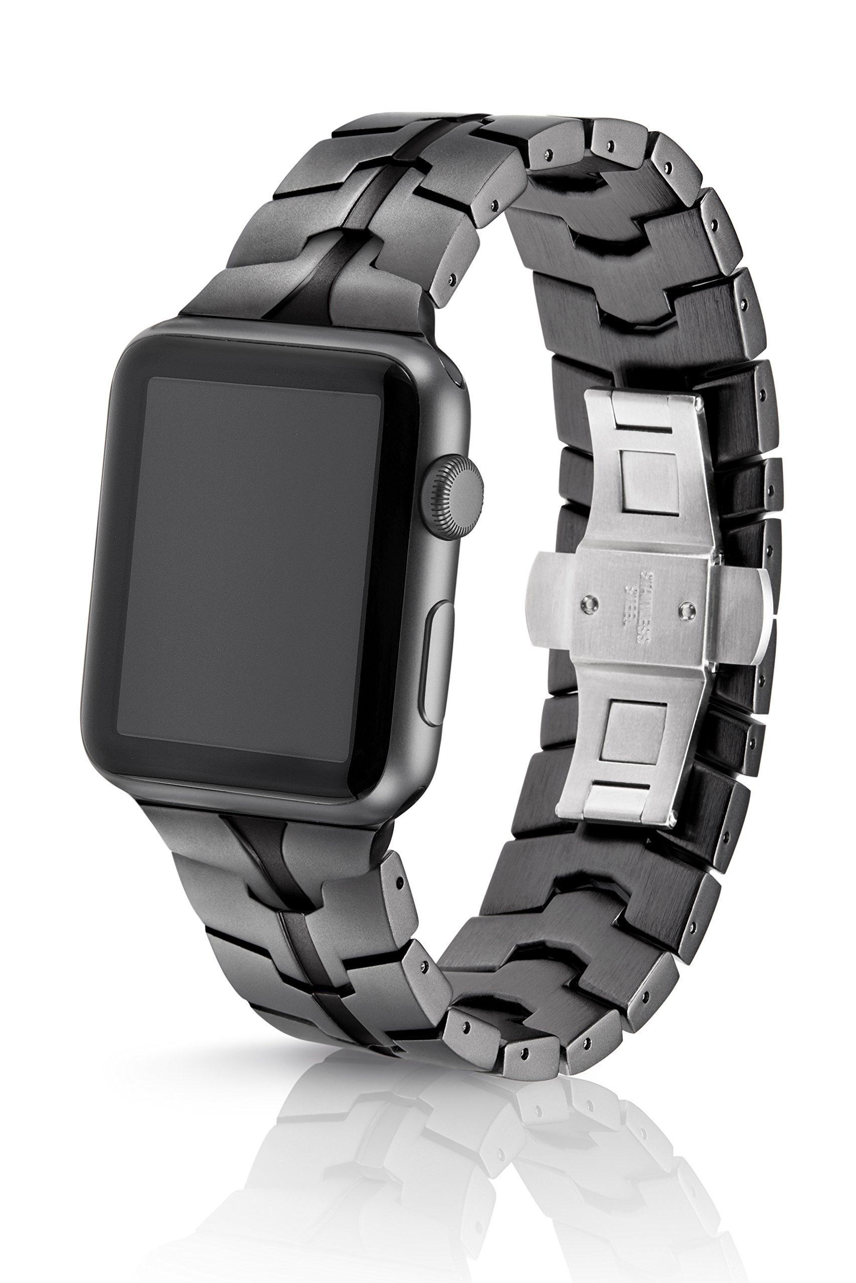 42/44mm JUUK Granite Vitero Premium Watch Band Made for The Apple Watch, Using Aircraft Grade, Hard Anodized 6000 Series Aluminum with a Solid Stainless Steel Butterfly deployant Buckle (Matte)