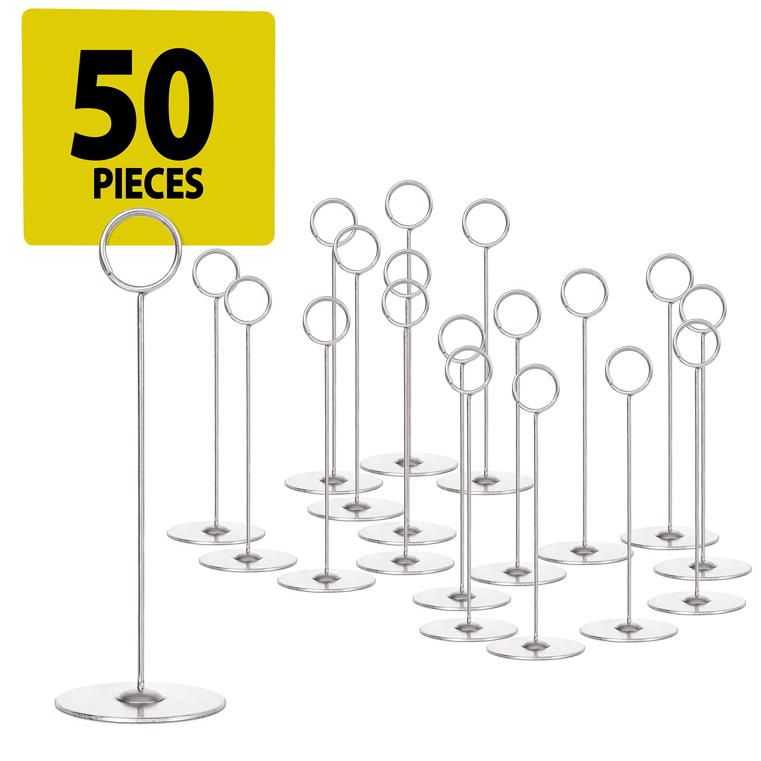 Set of 50 Place Card Holders - 8'' Table Number Holder Stand to Hold Photo Numbers Reserved Sign Recipe Note for Wedding Party Restaurant Menu Banquet or Pictures Heavy Base Tabletop Cardholder(Silver)