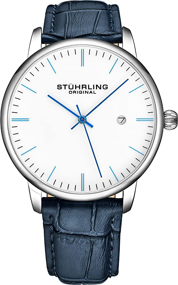 Stuhrling Original Mens Watch Calfskin Leather Strap - Dress + Casual Design - Analog Watch Dial with Date
