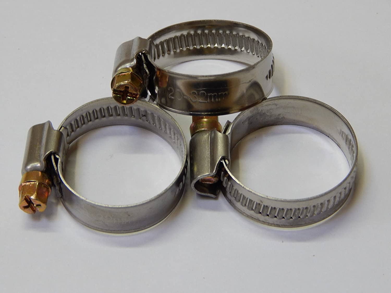 10 Stück EDELSTAHL Schlauchschellen W2, Spannbereich 20 bis 32 mm, Bandbreite 12 mm, DIN 3017, Industriequalität, mit Schneckengewinde, Industriequalität MO-Werkzeughandel