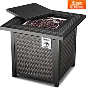 TACKLIEE Propane Fire Pit Table, Outdoor Companion, 28 Inch 50,000 BTU Auto-Ignition Gas Fire Pit Table with Cover, CSA Certification and Strong Striped Steel Surface, Indoor Companion