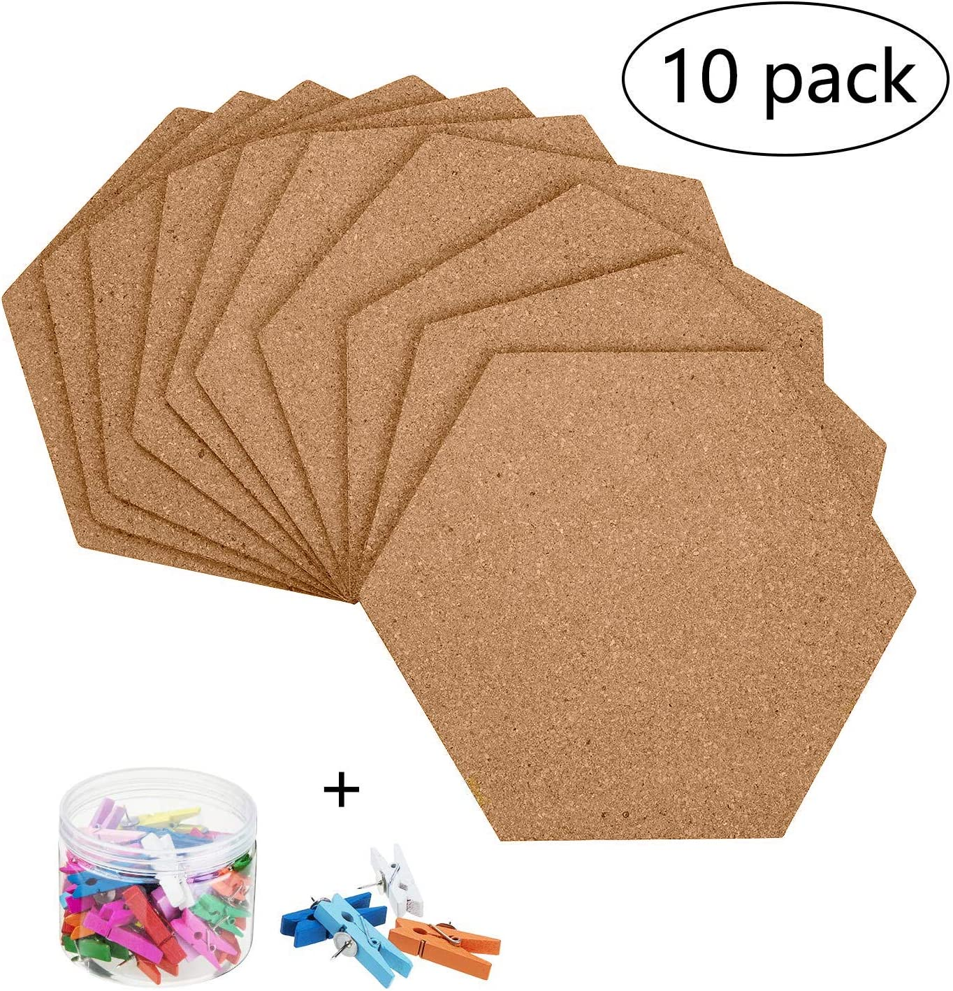 10 Pack Self-Adhesive Cork Board Tiles Mini Wand Bulletin Board with 50 Multi-Color drücken Pins