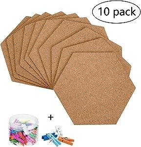 10 Pack Self-Adhesive Cork Board Tiles Mini Wall Bulletin Board with 50 Multi-Color Push Pins