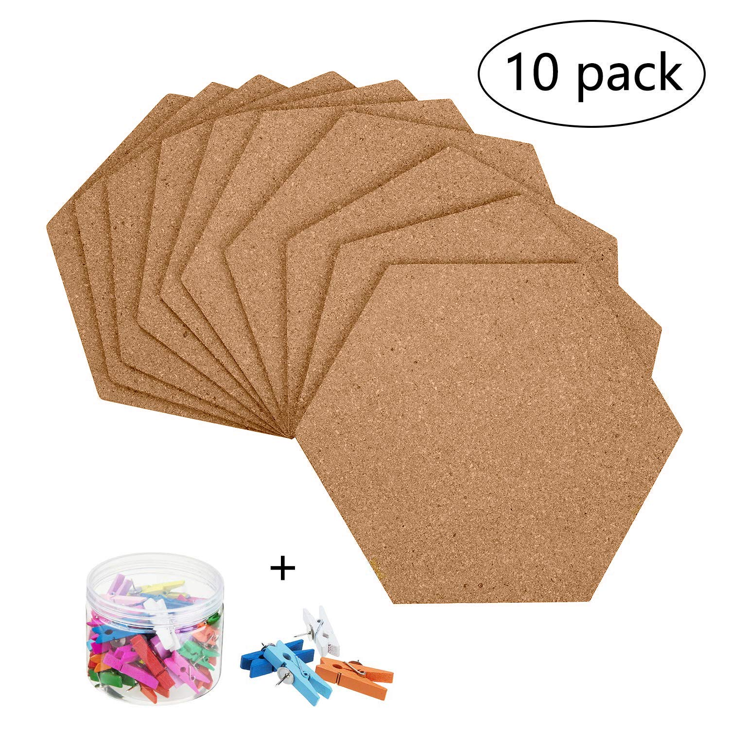 10 Pack Self-Adhesive Cork Board Tiles Mini Wall Bulletin Board with 50 Multi-Color Push Pins 81peHKliW1L