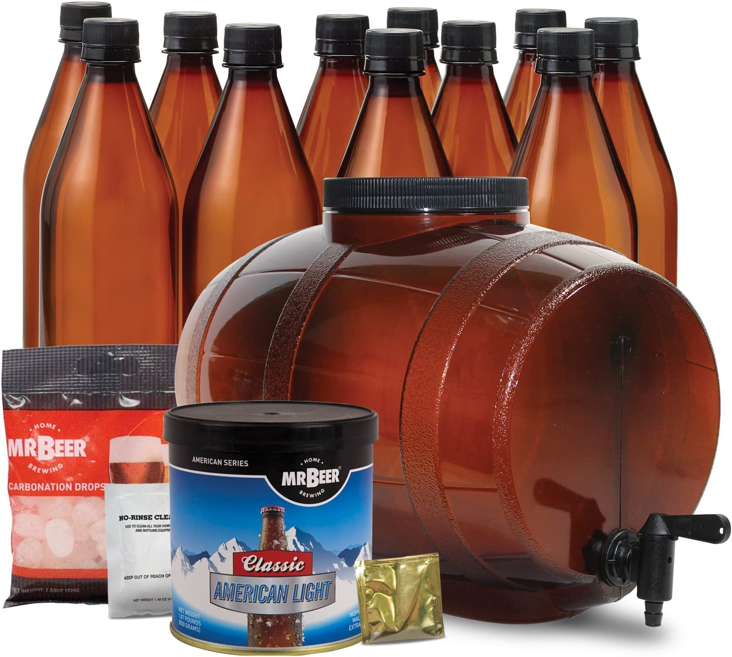 Amazon Com Mr Beer Classic American Light 2 Gallon Beer Making Kit Beer Brewing Equipment Kitchen Dining