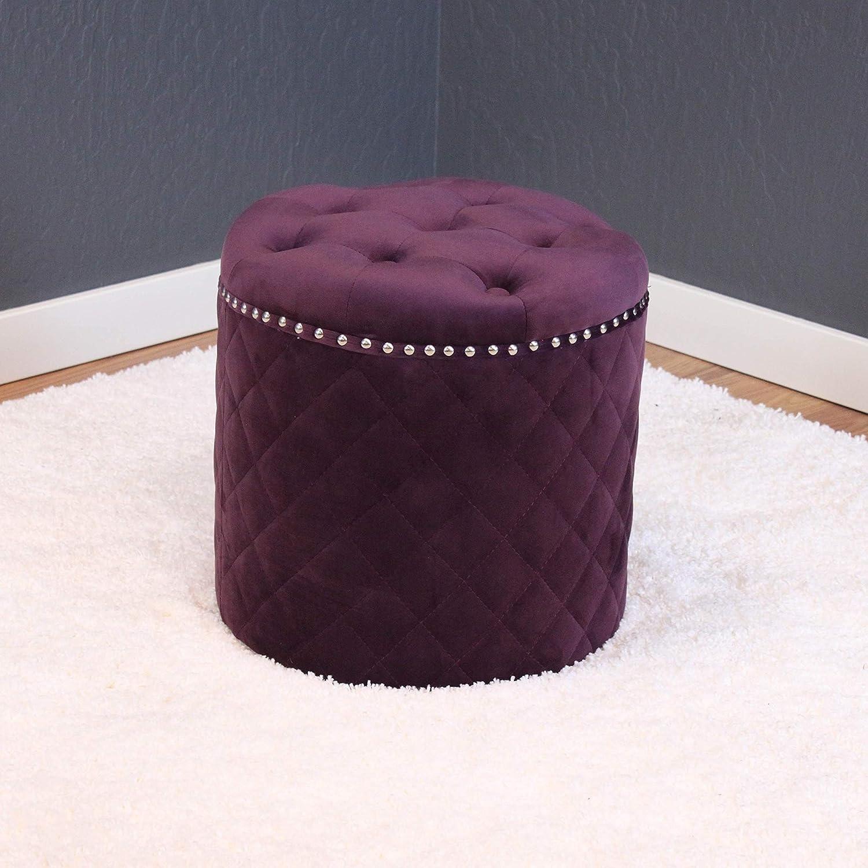 Sensational Amazon Com Monsoon Pacific Lemele Round Velvet Ottoman Plum Theyellowbook Wood Chair Design Ideas Theyellowbookinfo