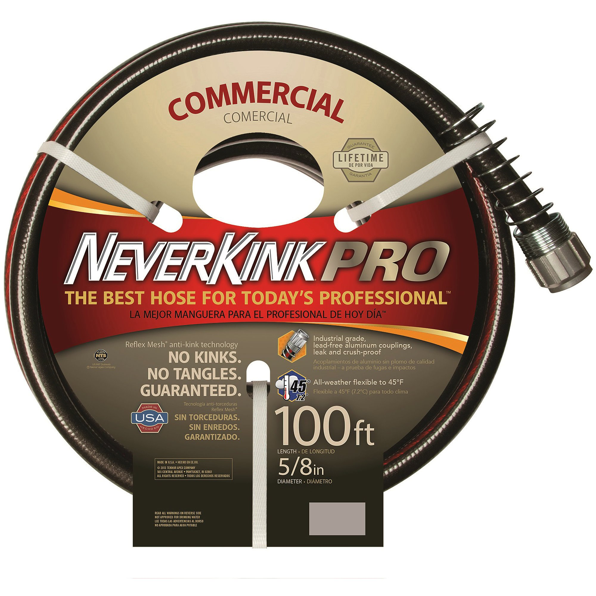 Garden - Hose Flexogen, Portable, Lightweight & Commercial Duty. Neverkink, No Tangles. Perfect For Patio & Poolside Cleaning, Yard, Backyard, Lawn (100' 5/8'') Black/Red