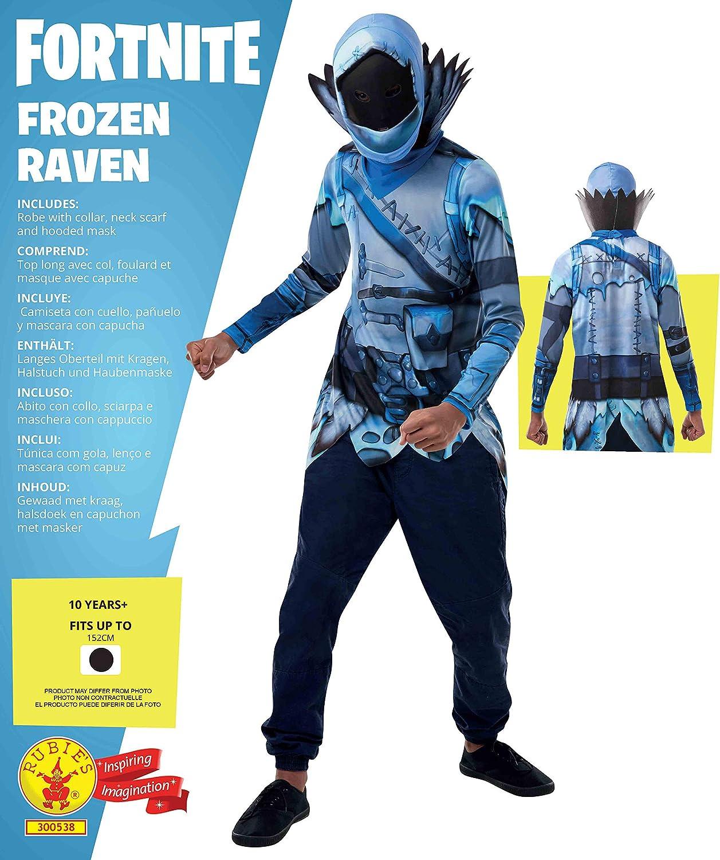 Rubies Official Fortnite Frozen Raven Costume Kit-Top & Mask ...