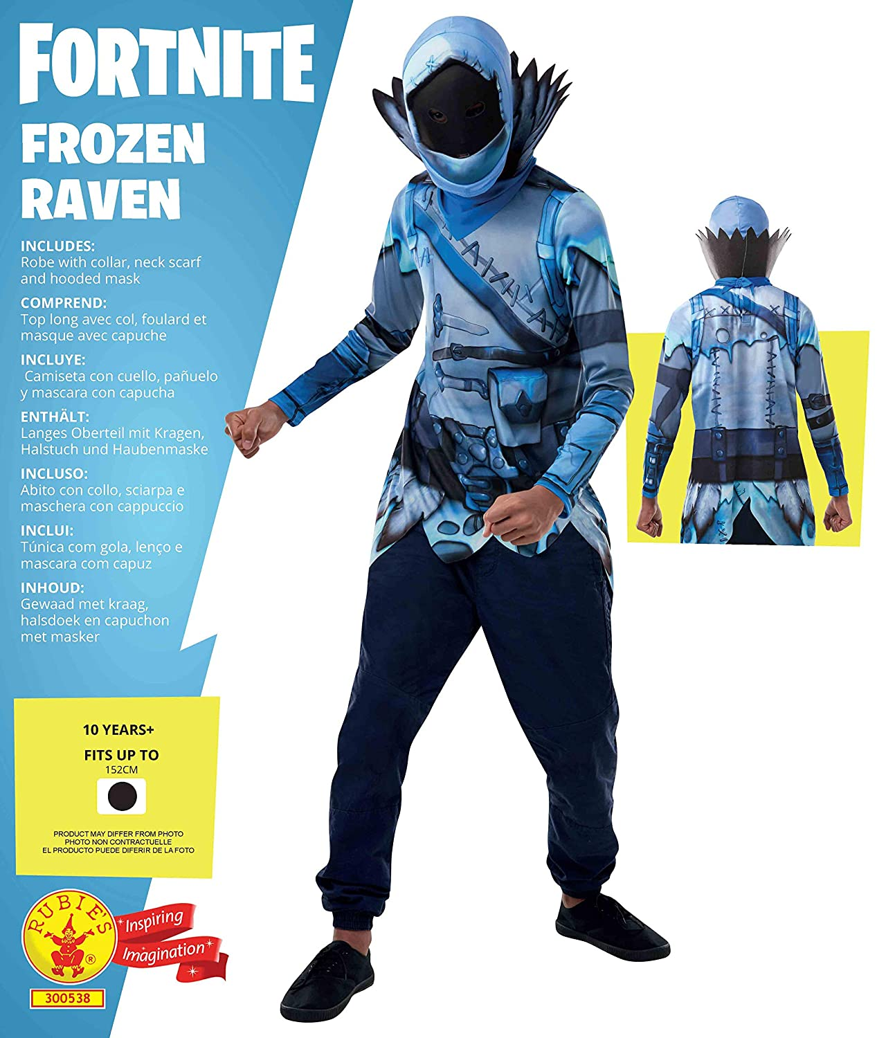 Rubies Official Fortnite Frozen Raven Costume Kit-Top & Mask ...