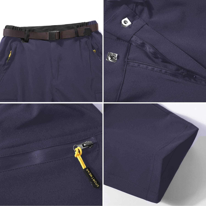 LHHMZ Hommes Pantalon de Randonn/ée Convertible Ext/érieur /à s/échage Rapide Respirant Imperm/éable Zip Off Pantalon de Chasse Escalade Cyclisme