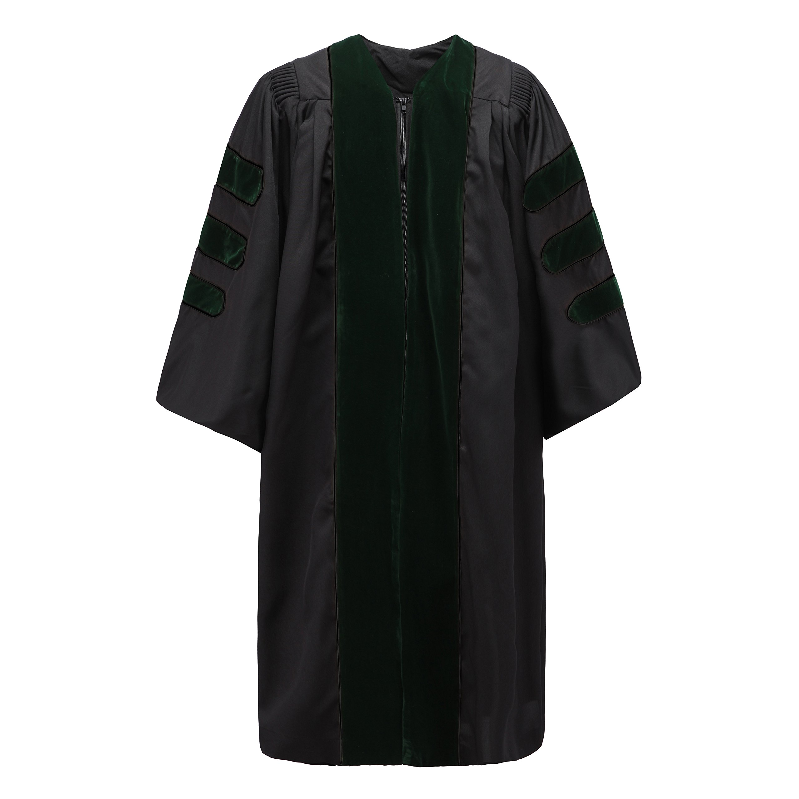 Robe Depot Unisex Deluxe Doctoral Graduation Gown without Piping, Green Velvet Size 54 by Robe Depot